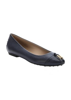 Tod's navy leather tassel tie ballerina flats