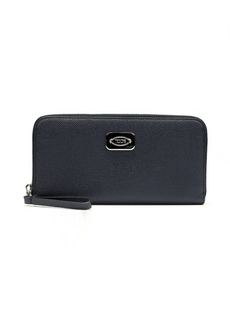 Tod's navy leather zip continental wallet