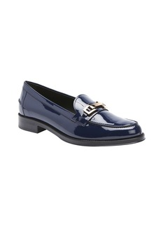 Tod's navy patent leather split toe horsebit detail ...