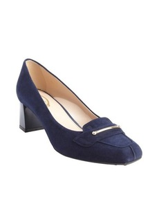 Tod's navy suede buckle detail pumps