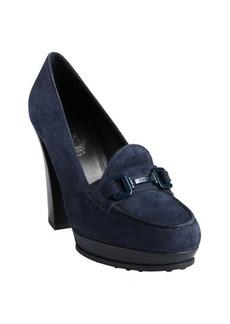Tod's navy suede moc toe wooden heel loafer pumps