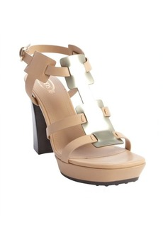 Tod's nude and bronze leather strappy sandals