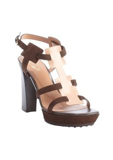 Tod's nude and rosewood leather strappy sandals