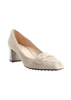 Tod's nude suede buckle detail pumps