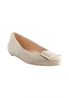 Tod's nude suede square emblem pointed toe flats