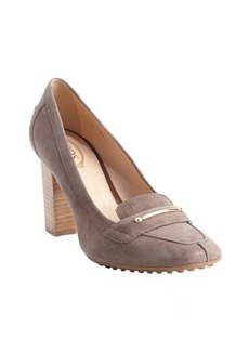 Tod's nut suede square toe gold band pumps