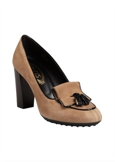 Tod's nutmeg suede tassel stacked heel loafers