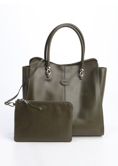 Tod's olive green leather 'Sellas' medium shopping bag