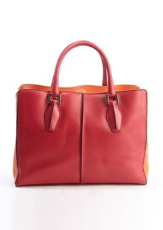 Tod's orange and fuschia leather 'D-Cube Medium Shopping' bag