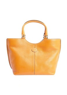 Tod's orange leather logo 'Piccola' shopping tote