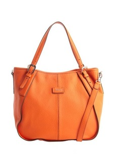 Tod's orange leather logo stamp convertible shoulder bag