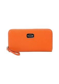 Tod's orange leather zip continental wallet