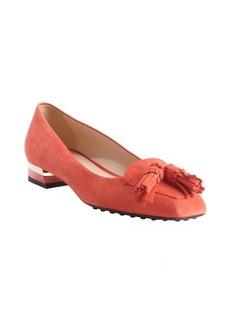 Tod's papaya suede tassel detail loafers