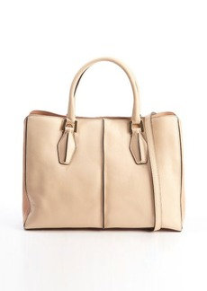 Tod's peach and brown leather 'D-Cube Medium Shopping' bag