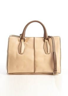 Tod's peach and brown leather top handle convertible tote