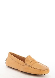 Tod's peach leather penny strap slip-on loafers