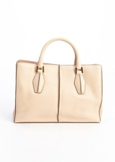 Tod's peach leather top handle convertible tote