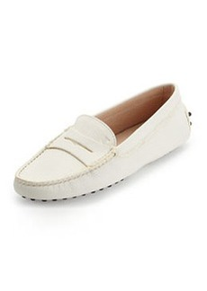 Tod's Pebbled Penny-Front Gommini Moccasin, White