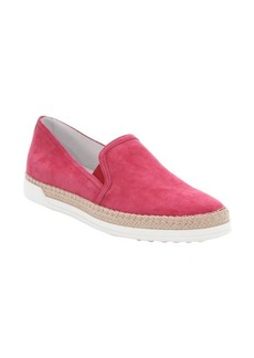 Tod's peony pink suede slip-on espadrille sneakers