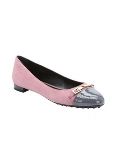 Tod's pink and grey suede cap toe ballerina flats