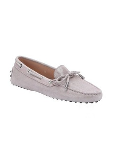 Tod's pink glitter suede lace-up driving loafers