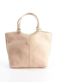 Tod's pink leather logo 'Piccola' shopping tote