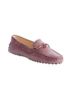 Tod's pink snake embossed leather tie loafers