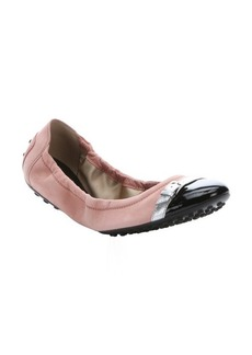 Tod's pink suede and black leather captoe packable ballet flats