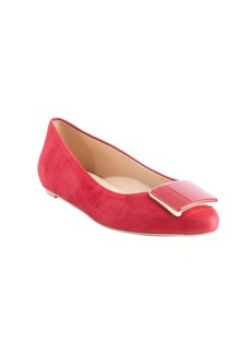 Tod's pink suede square emblem pointed toe flats