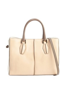 Tod's powder and cream leather 'D-Cube Medium Shopping' bag