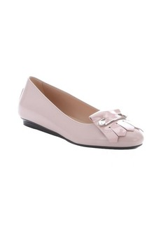 Tod's powder pink leather safety pin and tassel detail ballerina flats