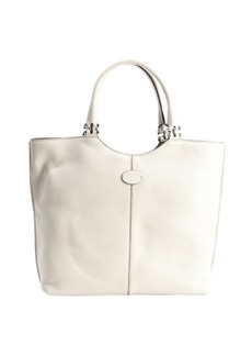 Tod's powder white leather logo 'Shopping Media' tote