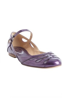 Tod's purple leather strappy mary jabe strap flats