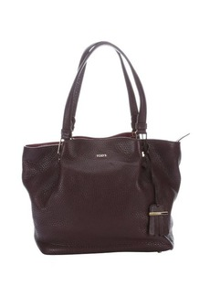 Tod's purple leather top handle shopper tote
