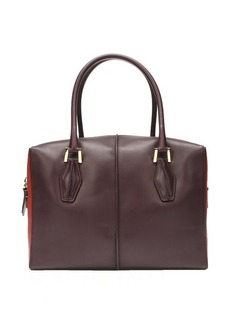 Tod's raspberry and brick leather small top handle tote