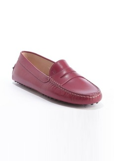 Tod's raspberry leather penny strap slip-on loafers