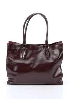 Tod's raspberry leather suede accent top handle large tote