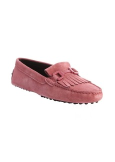Tod's raspberry suede fringe loafers