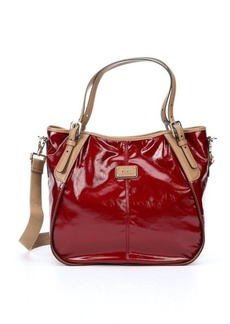 Tod's red coated twill 'New G' small convertible tote