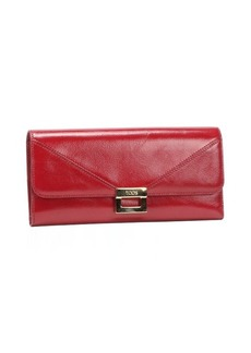 Tod's red leather clasp detail continental wallet