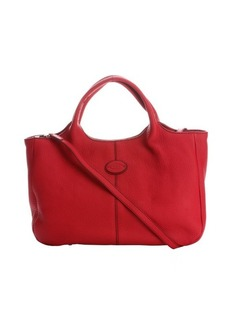 Tod's red leather convertible shopper tote