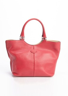 Tod's red leather logo 'Piccola' shopping tote