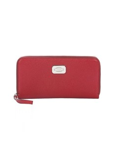 Tod's red leather logo plaque zip continental wallet