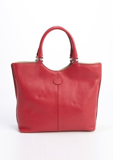 Tod's red leather logo 'Shopping Media' tote