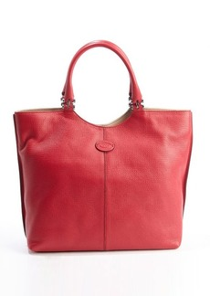 Tod's red leather 'Shopping Media' top handle tote