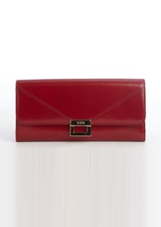 Tod's red leather snap flap continental wallet