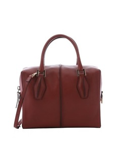 Tod's red leather structured 'D-Cube' tote bag