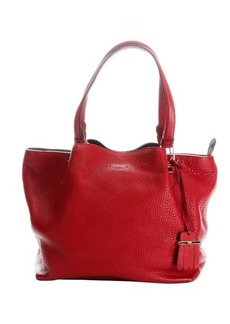 Tod's red leather top handle shopper tote