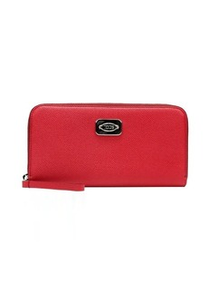 Tod's red leather zip continental wallet