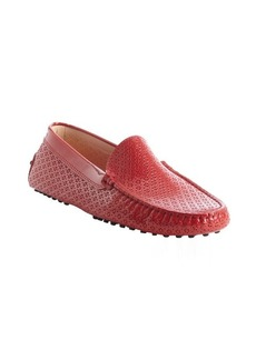 Tod's red patent leather perforated detail slip-on loafers